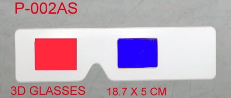 Cardboard 3D glasses, client's design surface printing with red/blue foil lens. 18.7 x 5cm ,no arms.