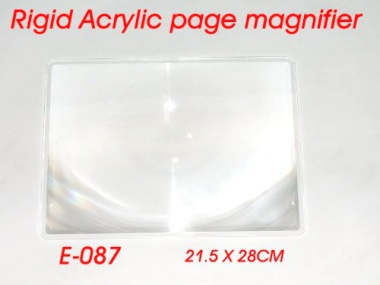 Flat, rigid, light and powerful magnifier (Fresnel Lens ) in PMMA/ Optical level material with big and clear (Unbendable ) construction. [育勝企業有限公司]
