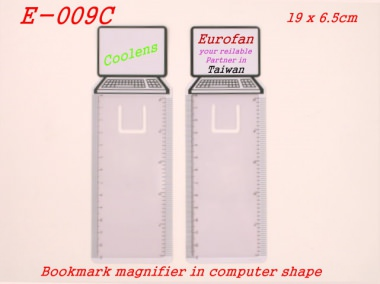 Wonderful bookmark in computer shape with magnifier and ruler scale for daily usage. The white block is reserved for client's logo printing. [育勝企業有限公司]